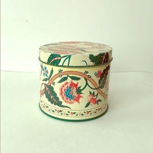 Vintage tin canister floral design antique tea
